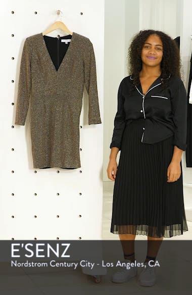 Riley Plunge Neck Metallic Sheath Dress, sales video thumbnail