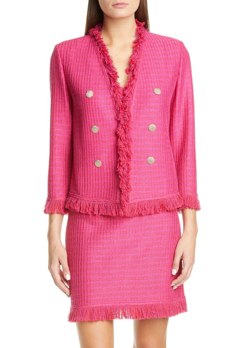 ST. JOHN COLLECTION Poppy Novelty Textured Knit Jacket, Main, color, CAMELLIA MULTI