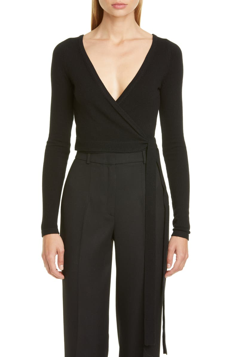 MICHAEL KORS Cashmere Wrap Top, Main, color, BLACK