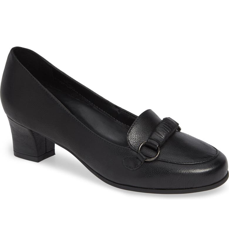 DAVID TATE Perky Loafer Pump, Main, color, BLACK LEATHER