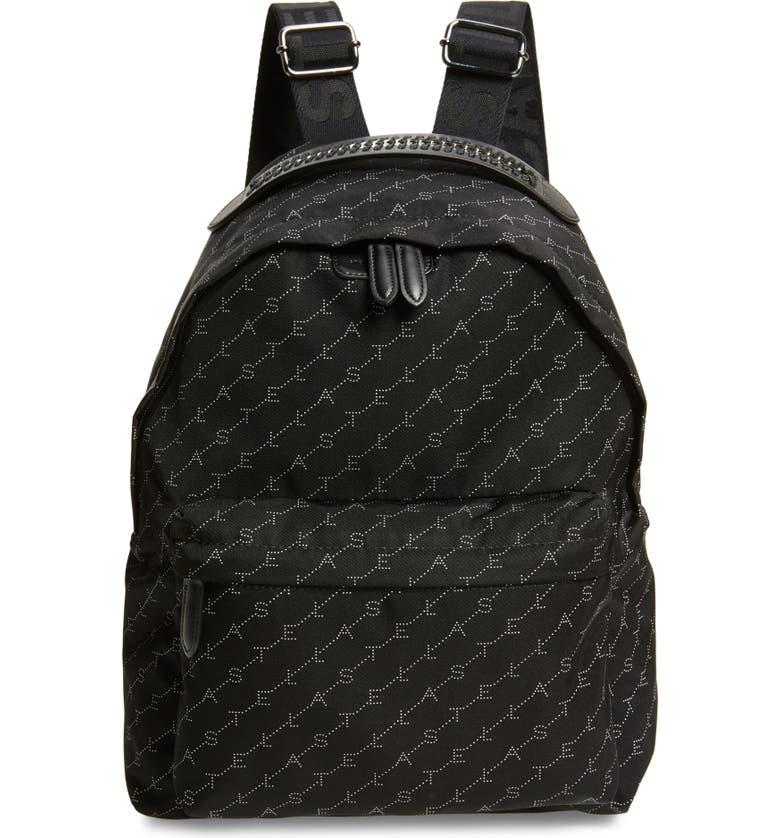 STELLA MCCARTNEY Monogram Eco Nylon Backpack, Main, color, BLACK/ WHITE