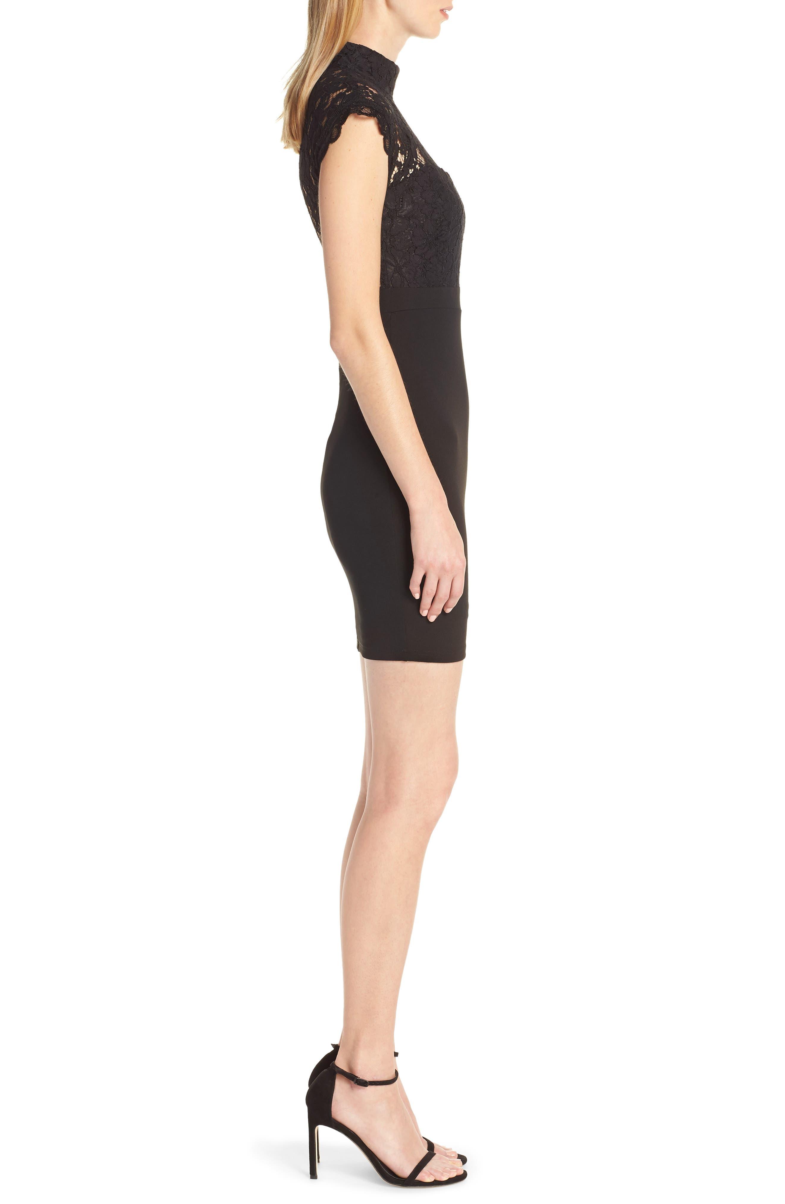 ,                             Lace Sheath Dress,                             Alternate thumbnail 3, color,                             BLACK