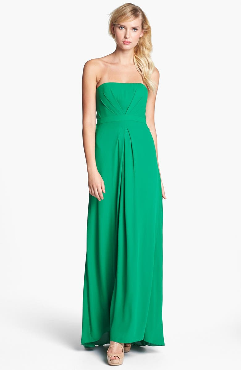 BCBGMAXAZRIA Strapless Pleated Gown, Main, color, 358