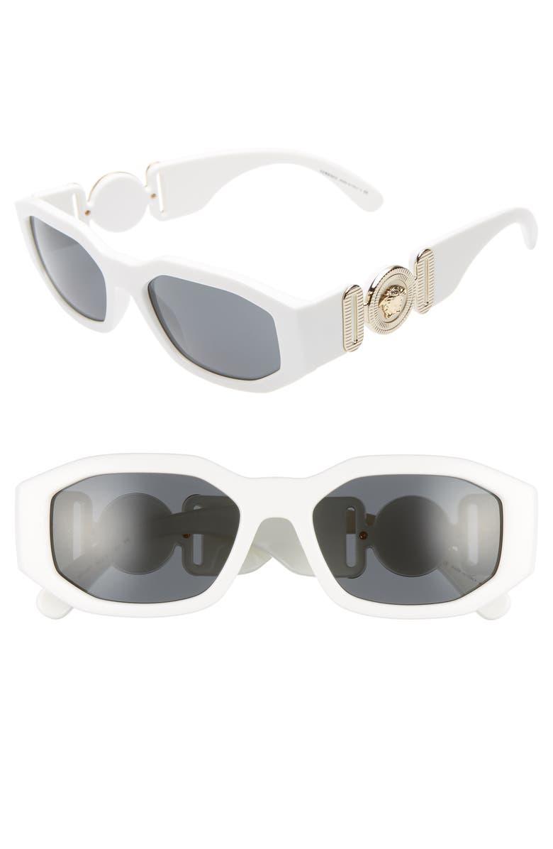 VERSACE Biggie 53mm Round Sunglasses, Main, color, WHITE SOLID