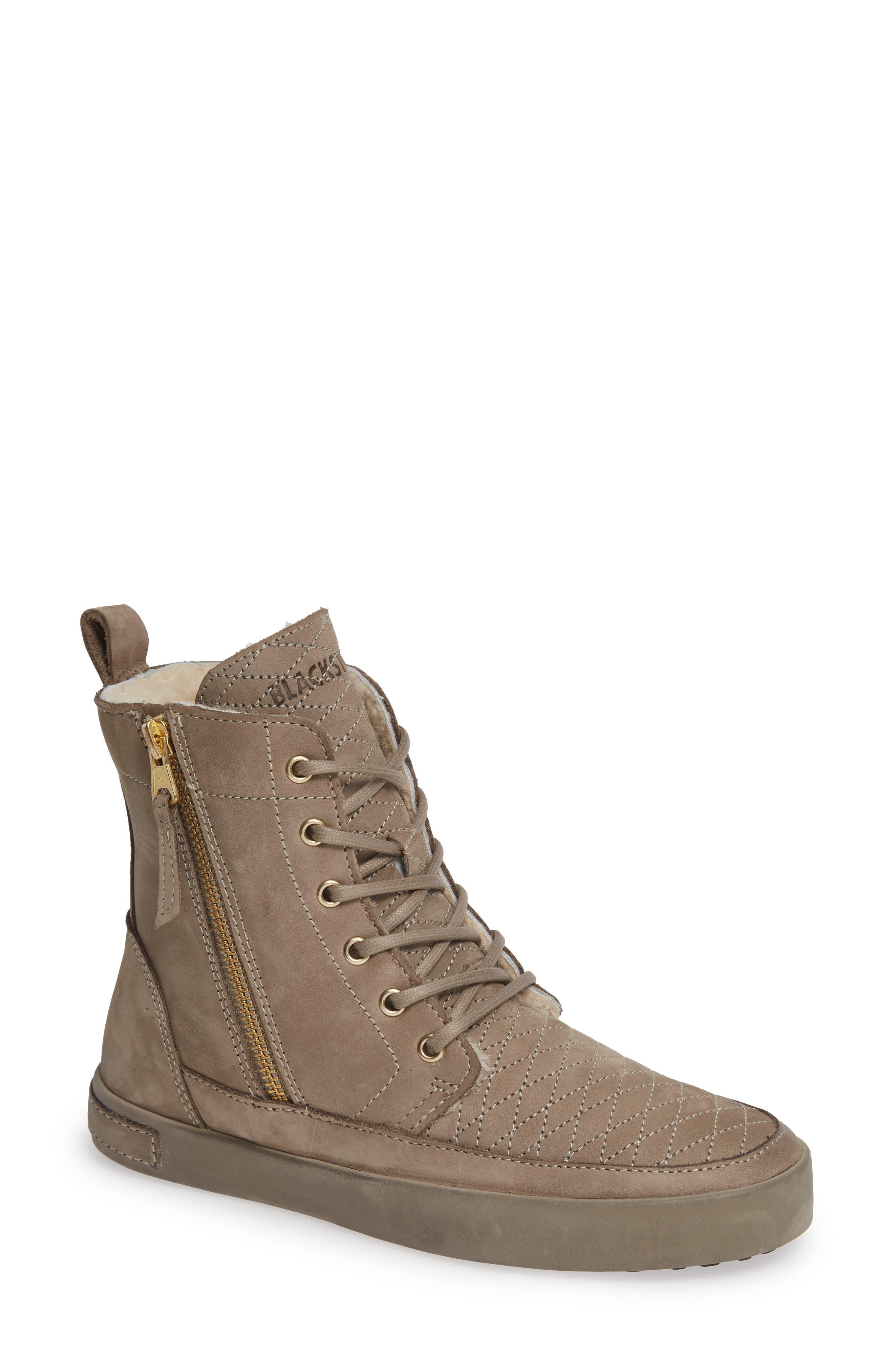 Blackstone Ql64 High Top Sneaker With Genuine Shearling Lining, Grey