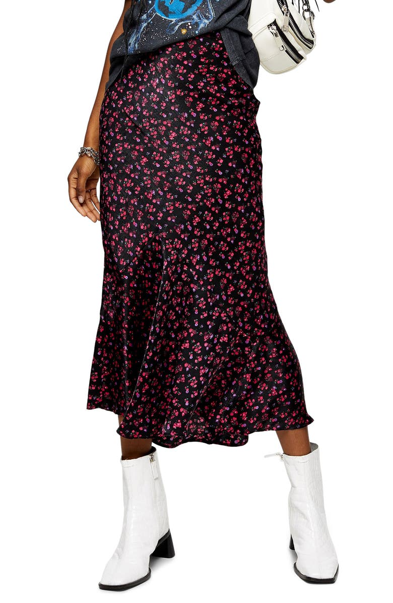 TOPSHOP Floral Ditsy Flounce Midi Skirt, Main, color, BLACK MULTI
