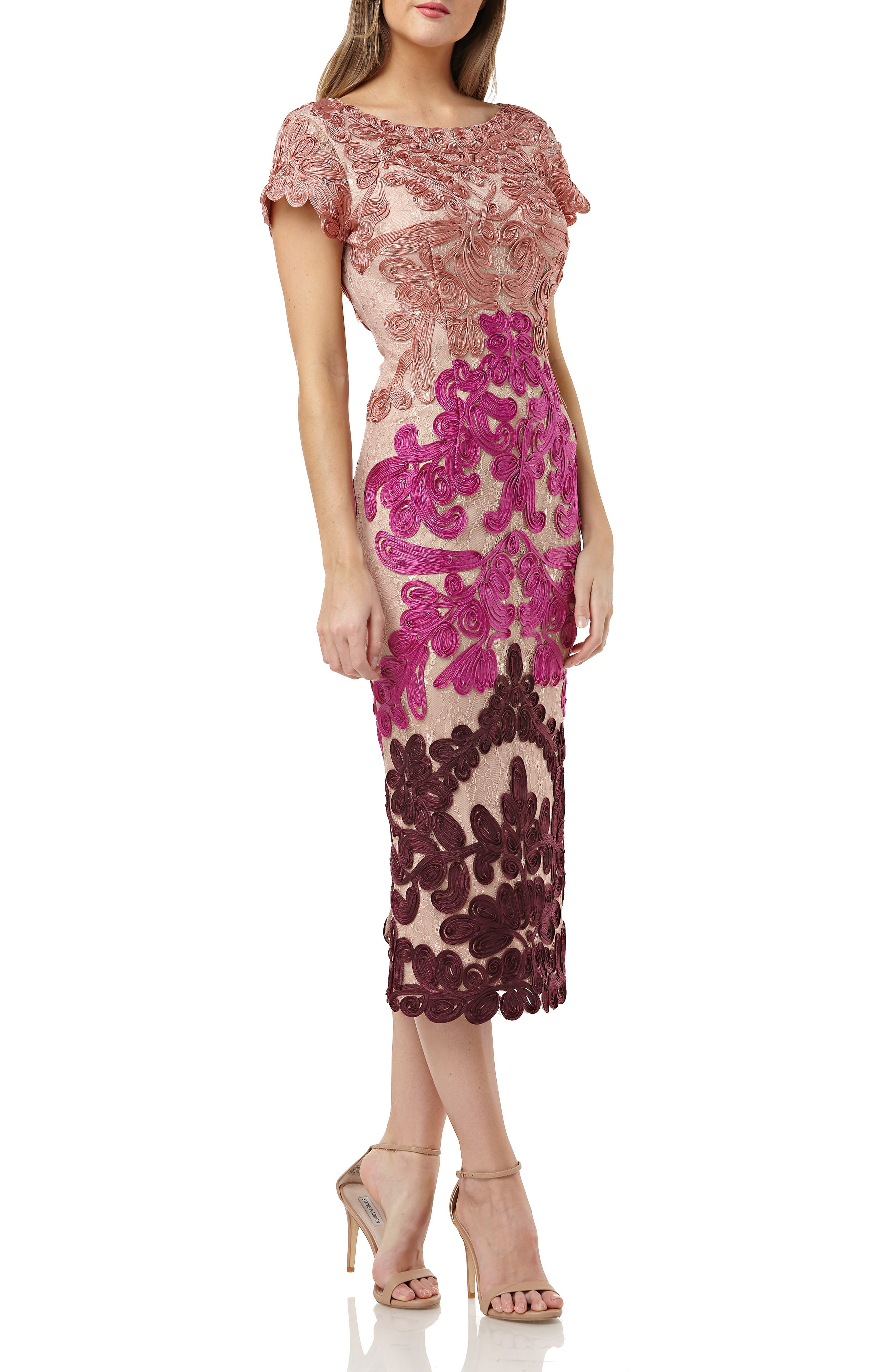 Js Collections Soutache Lace Midi Dress, Pink