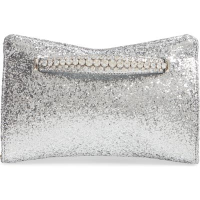 Jimmy Choo Galactica Glitter Clutch With Crystal Bracelet Handle - Metallic