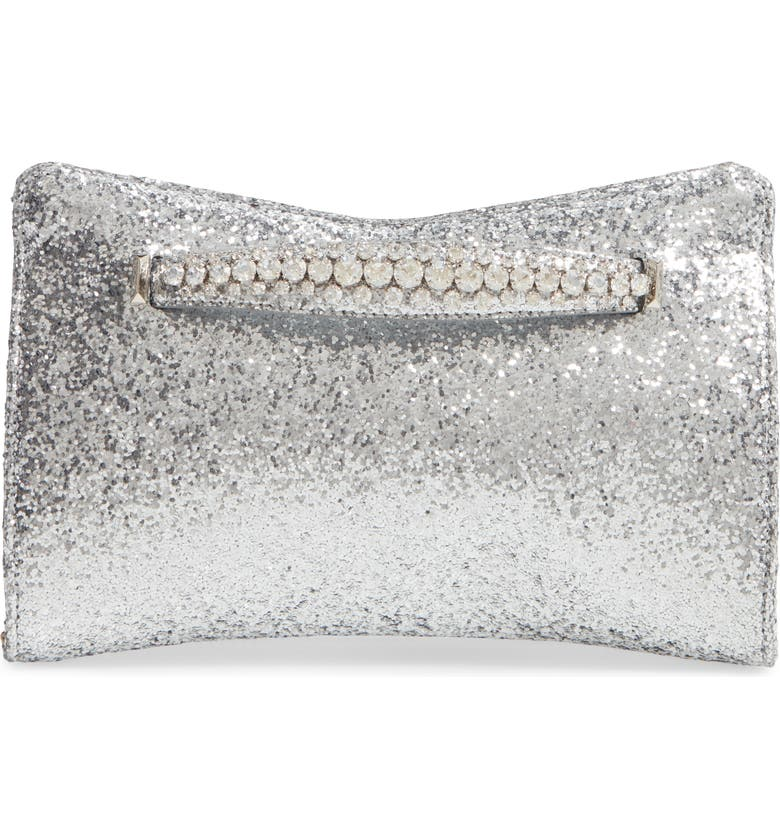 JIMMY CHOO Galactica Glitter Clutch with Crystal Bracelet Handle, Main, color, SILVER