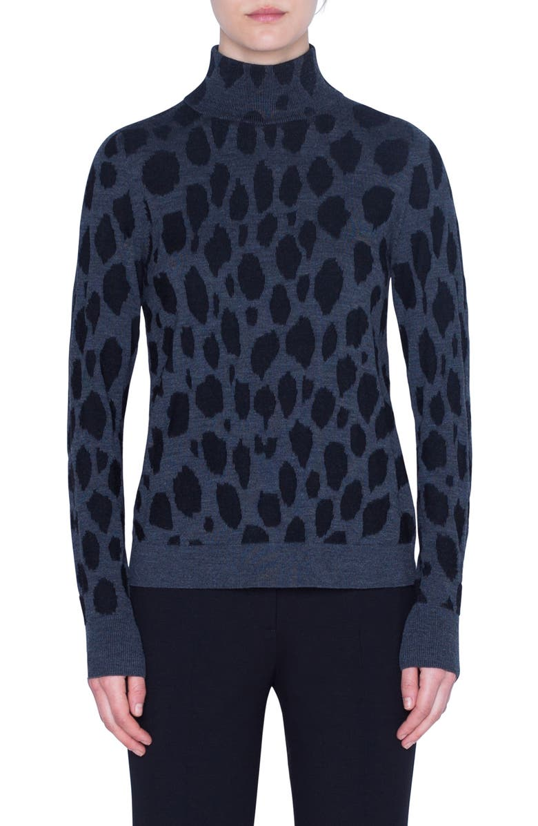 AKRIS PUNTO Animal Dot Jacquard Wool Sweater, Main, color, GRAPHITE/ BLACK