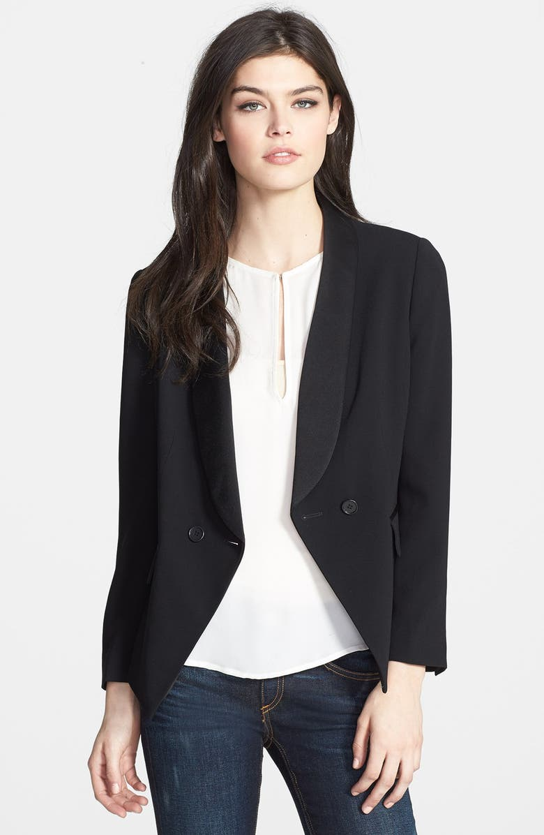 CHELSEA28 Satin Lapel Fitted Blazer, Main, color, 001