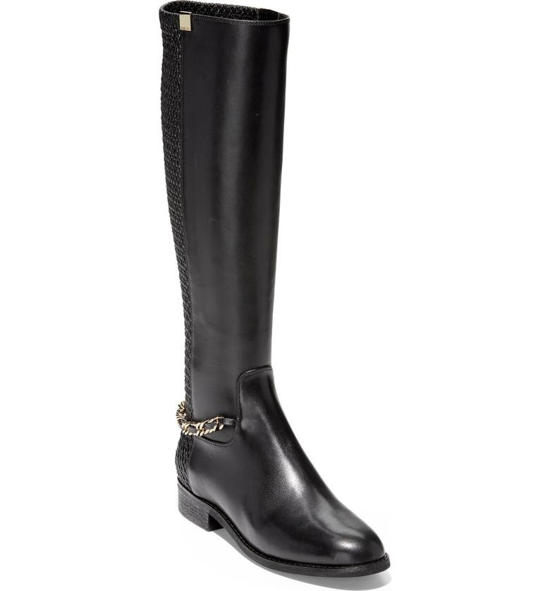 COLE HAAN Idinia Stretch Knee High Boot, Main, color, BLACK LEATHER