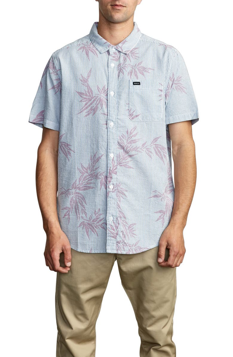 RVCA Richmond Short Sleeve Seersucker Button-Up Shirt, Main, color, NAUTICAL BLUE