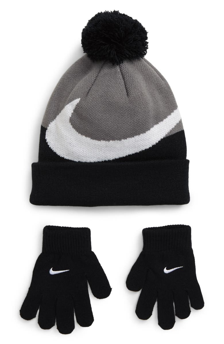 NIKE Swoosh Beanie & Glove Set, Main, color, BLACK/ COOL GREY