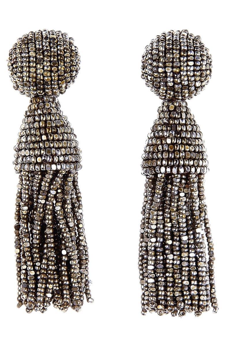 OSCAR DE LA RENTA 'Classic Short' Tassel Drop Clip Earrings, Main, color, CHAMPAGNE