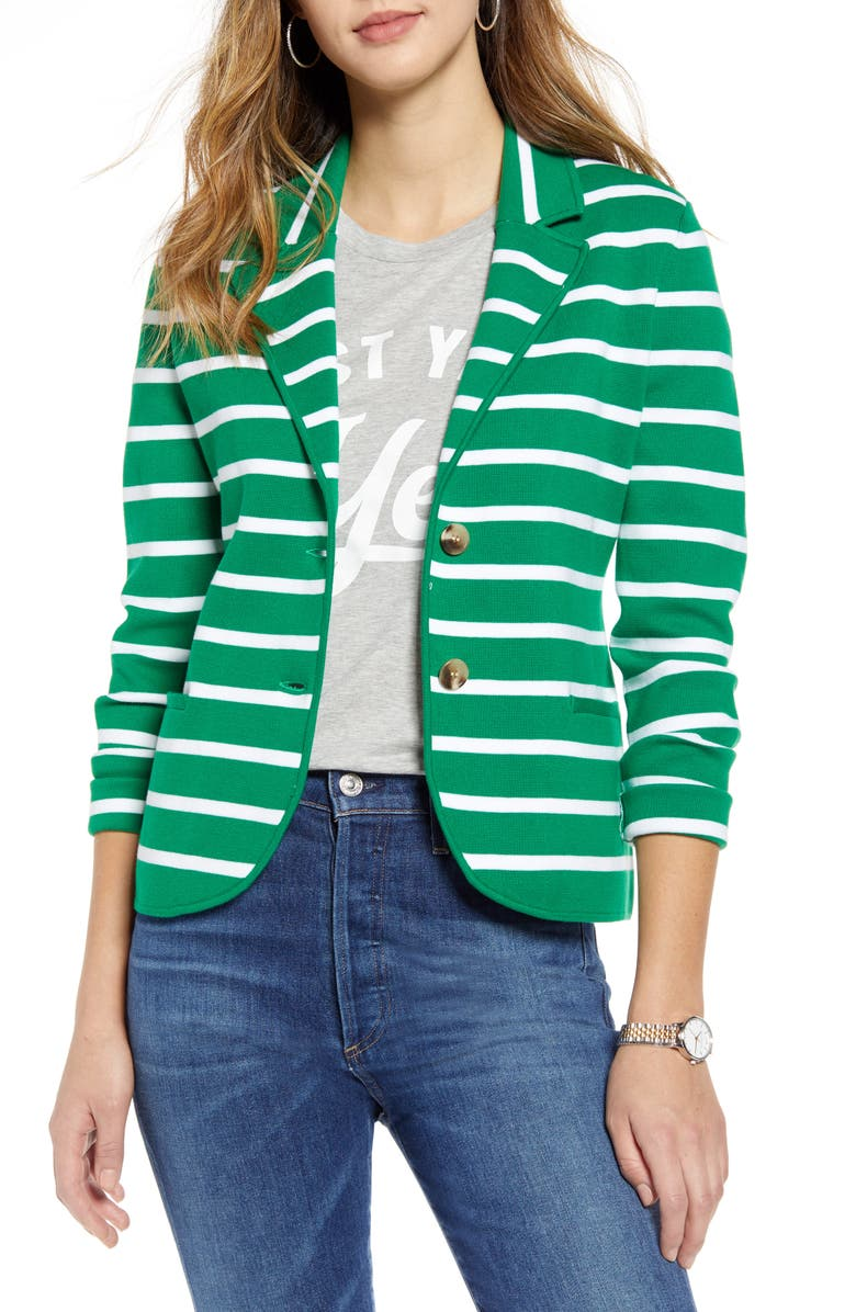 1901 Sweater Blazer, Main, color, GREEN JOLLY STRIPE