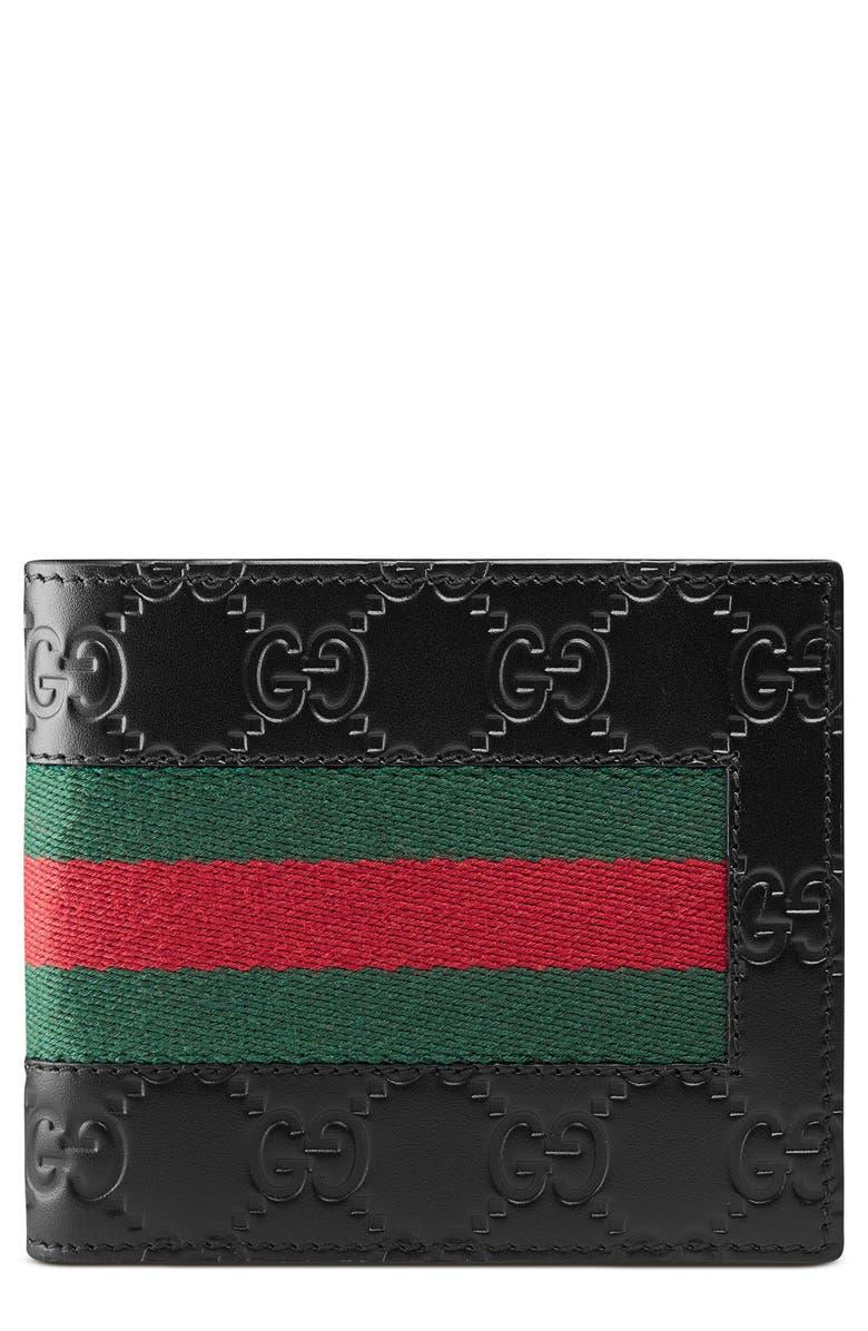 GUCCI New Web Wallet, Main, color, BLACK