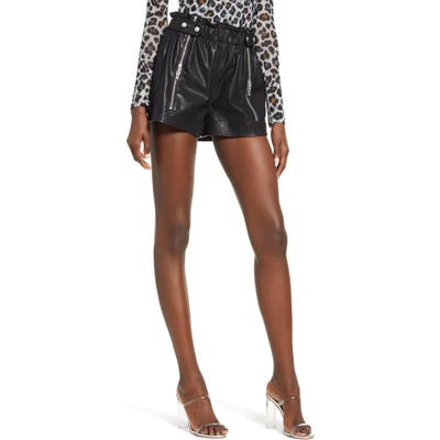 Blanknyc Paperbag Waist Faux Leather Shorts, Black