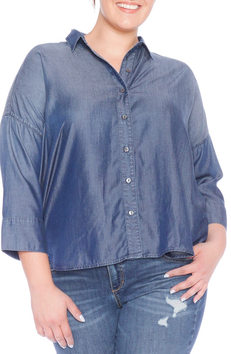 SLINK JEANS High/Low Oversize Button Down Shirt, Main, color, MIDNIGHT