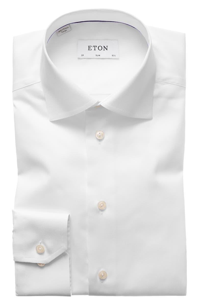 ETON Slim Fit Twill Dress Shirt, Main, color, WHITE