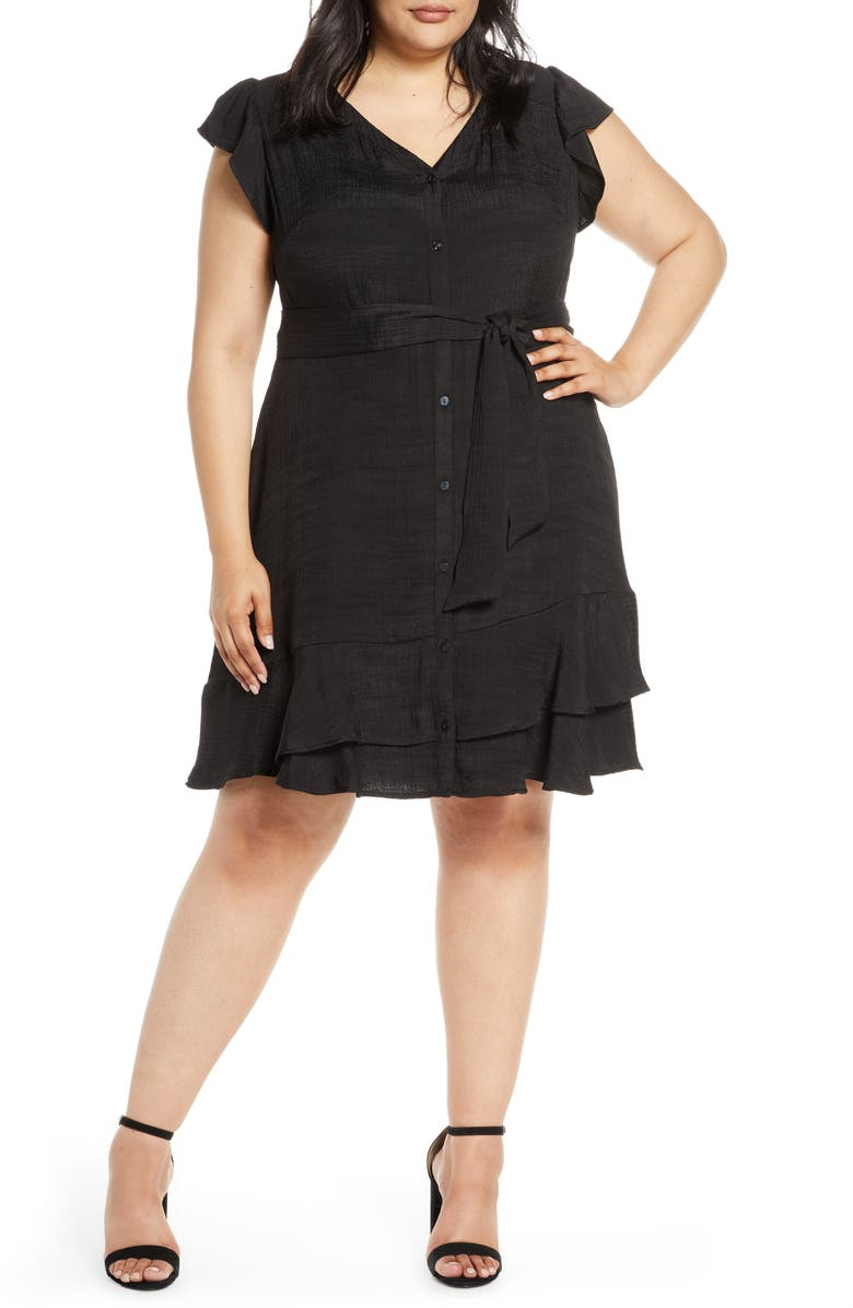 1.STATE Asymmetrical Ruffle Fit & Flare Dress, Main, color, RICH BLACK