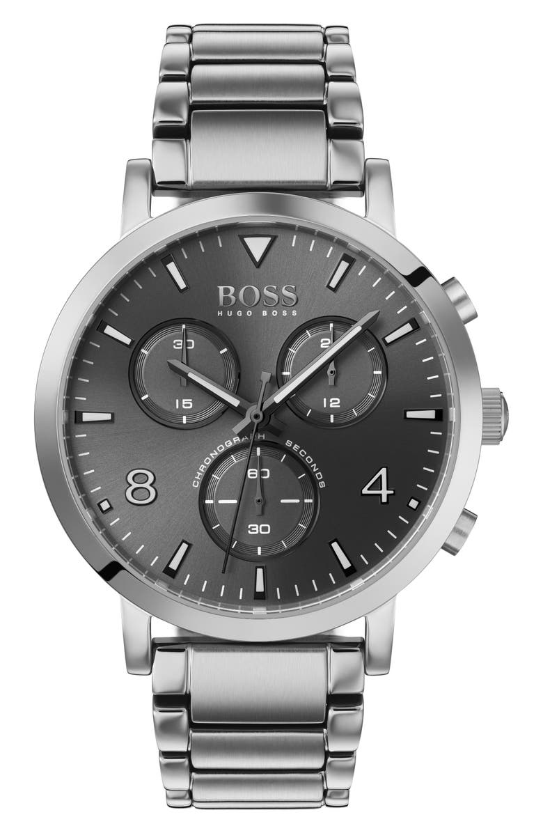 BOSS Spirit Chronograph Bracelet Watch, 41mm, Main, color, SILVER/ GREY/ SILVER