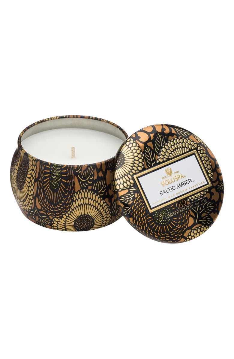 VOLUSPA Japonica Baltic Amber Petite Decorative Tin Candle, Main, color, NO COLOR