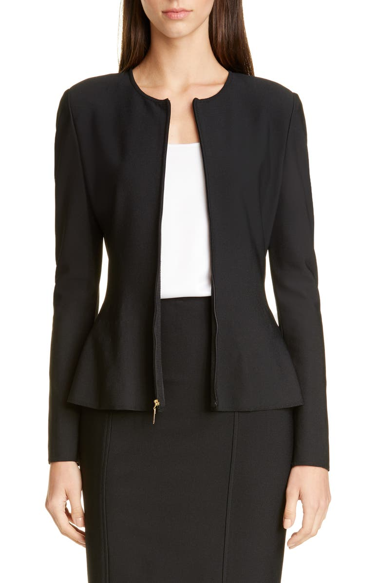 ST. JOHN COLLECTION Sculpted Milano Knit Jacket, Main, color, CAVIAR