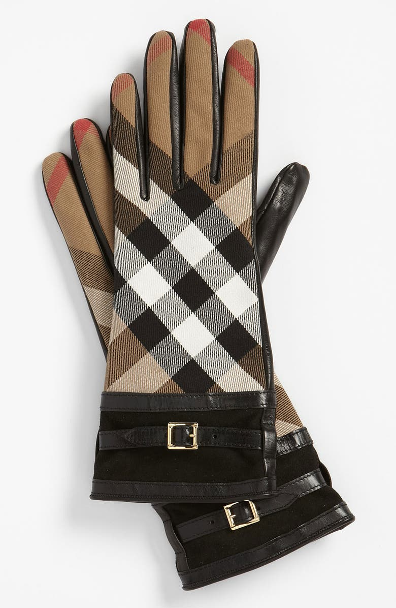 BURBERRY 'House Check' Gloves, Main, color, 001