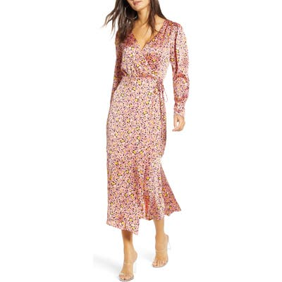 Leith Pink Leopard Print Long Sleeve Satin Midi Wrap Dress, Pink