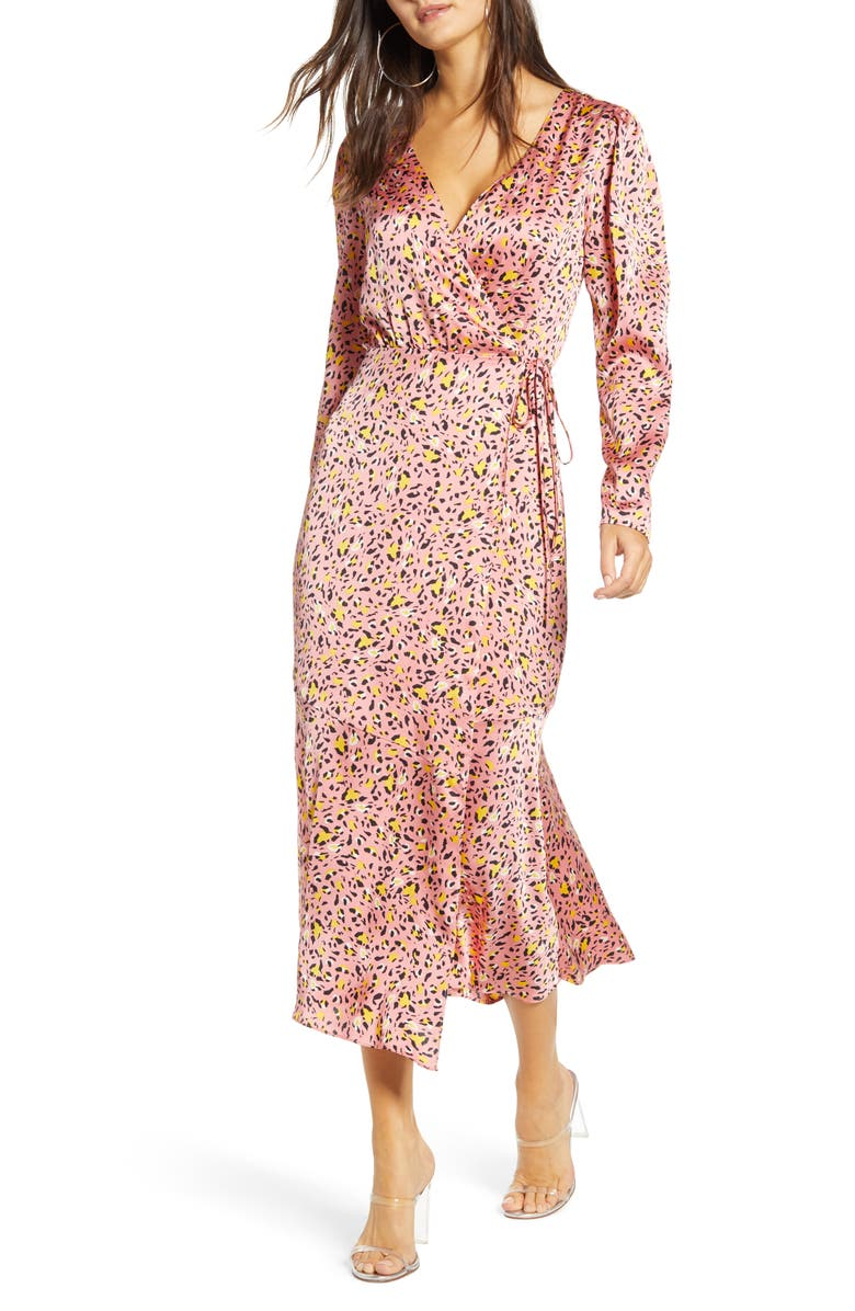 LEITH Pink Leopard Print Long Sleeve Satin Midi Wrap Dress, Main, color, PINK GERANIUM MINI LEOPARD
