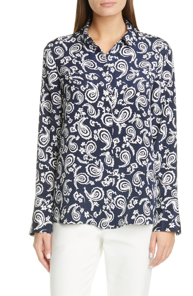 ST. JOHN COLLECTION Painted Floral Paisley Stretch Silk Crêpe de Chine Shirt, Main, color, NAVY/ WHITE