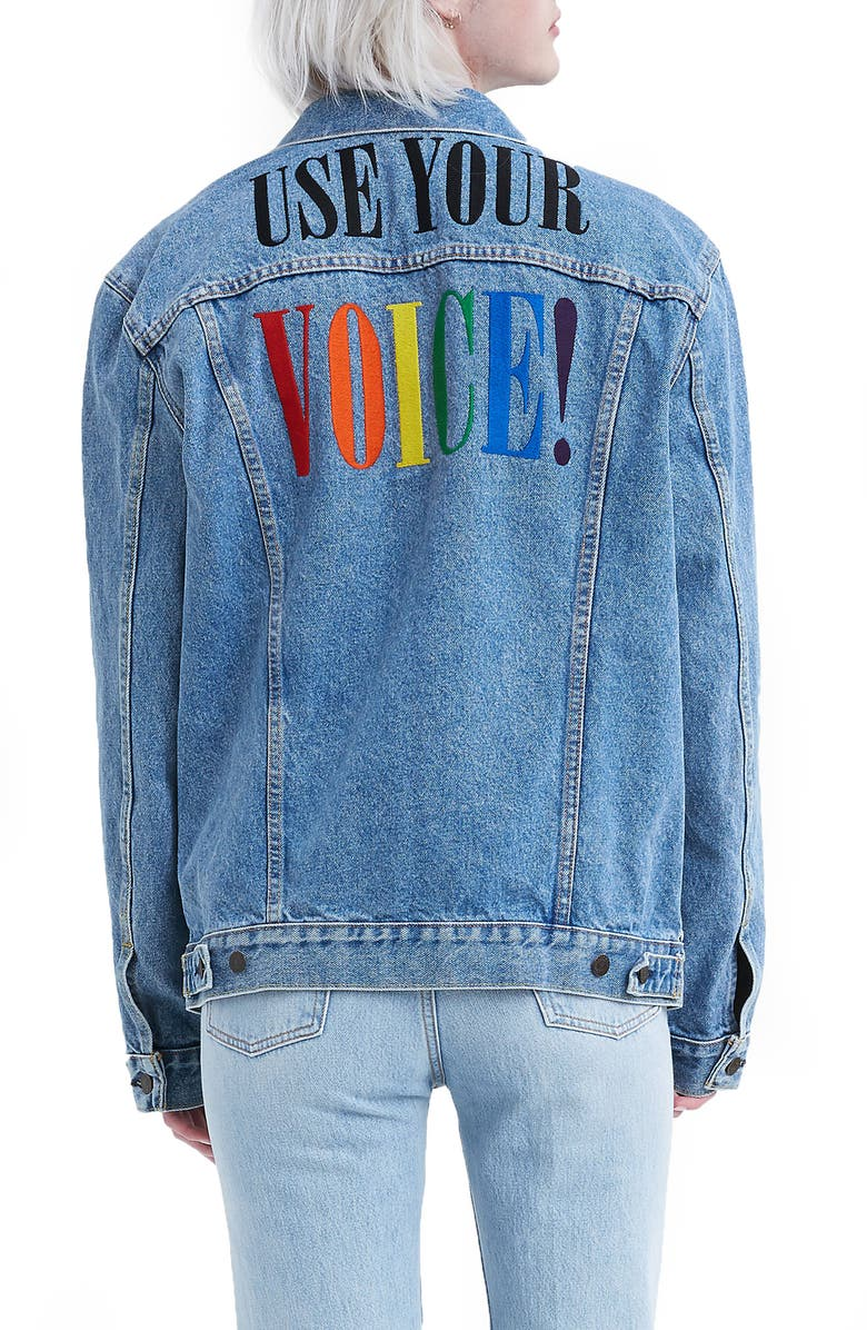 LEVI'S<SUP>®</SUP> Pride Slim Trucker Jacket, Main, color, PRIDE STONEWASH DENIM