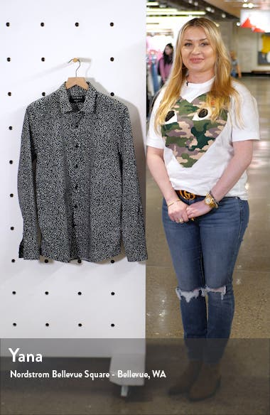 Trim Fit Spot Print Stretch Cotton Button-Up Shirt, sales video thumbnail