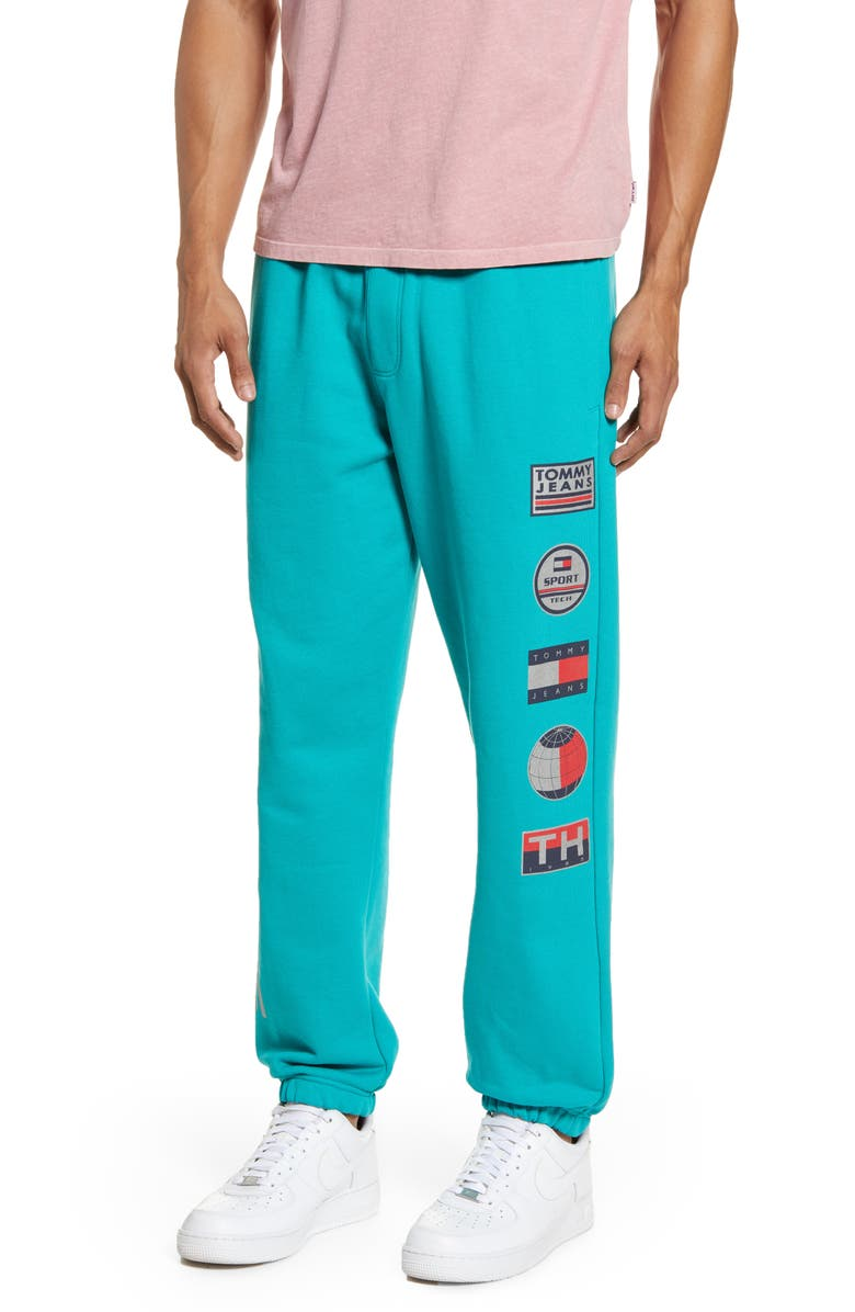 TOMMY JEANS TJM Sport Tech Logo Sweatpants, Main, color, TEAL BLUE