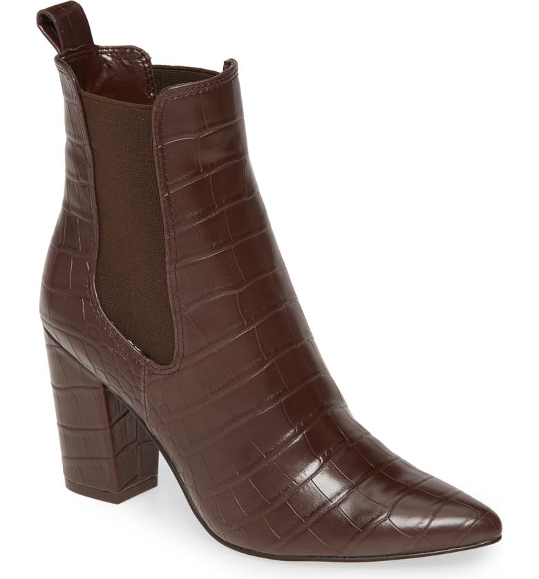 STEVE MADDEN Subtle Snake Embossed Chelsea Boot, Main, color, BROWN CROCODILE