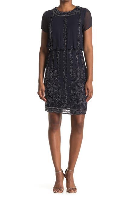 Image of Marina Short Sleeve Beaded Blouson Dress