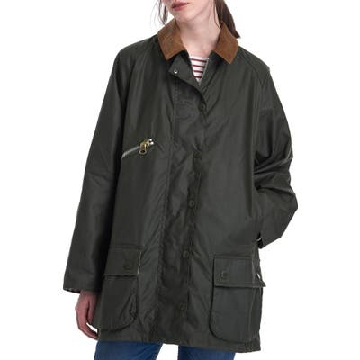Barbour X Alexachung Edith Weatherproof Waxed Cotton Jacket, US / 16 UK - Green