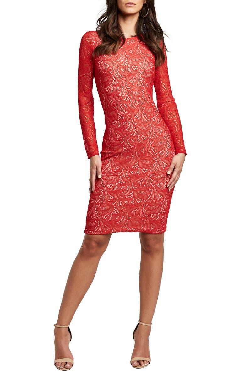 BARDOT Rini Lace Long Sleeve Body-Con Dress, Main, color, FIRE RED