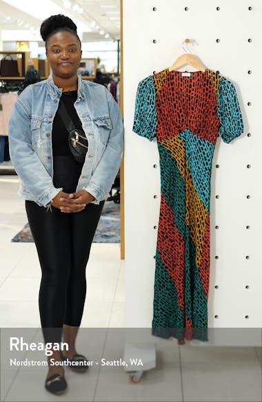 Amber Colorblock Giraffe Print Silk Blend Dress, sales video thumbnail