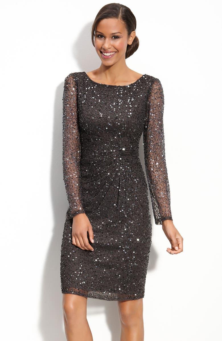PATRA Beaded Mesh Sheath Dress, Main, color, 020