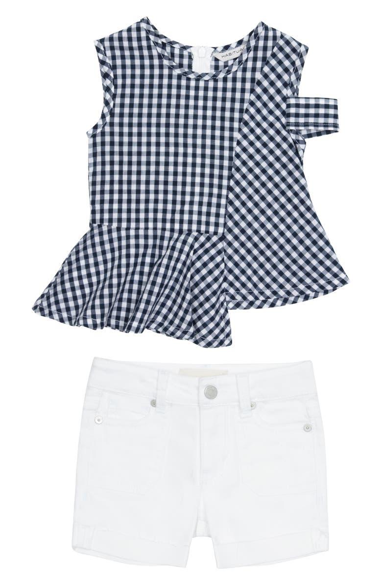 HABITUAL Asymmetrical Top & Shorts Set, Main, color, 410