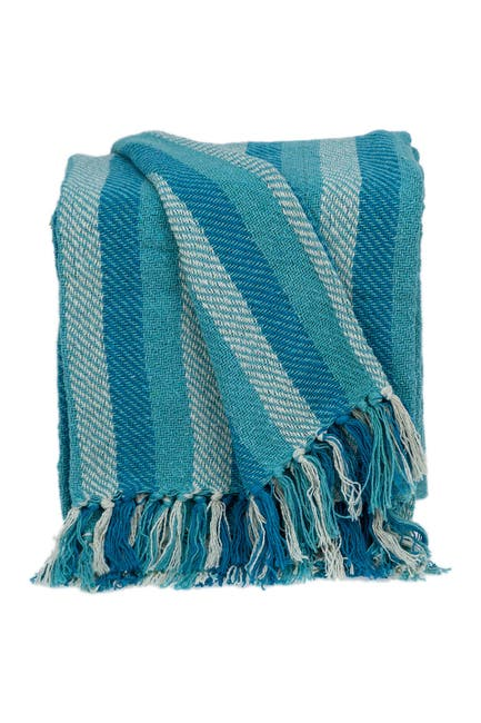 """Image of Parkland Collection Keena Transitional Blue 52"""" x 67"""" Woven Handloom Throw"""