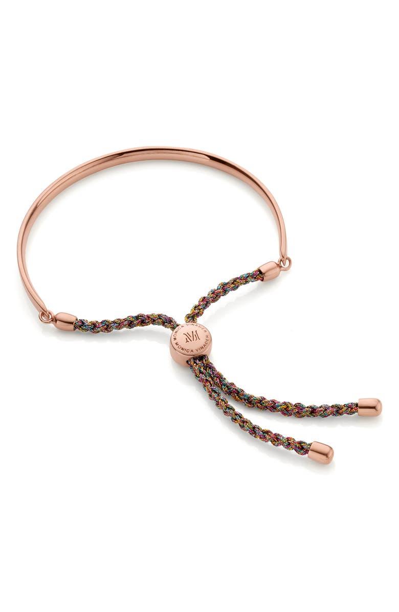 MONICA VINADER Engravable 'Fiji' Friendship Bracelet, Main, color, ROSE GOLD/ RAINBOW