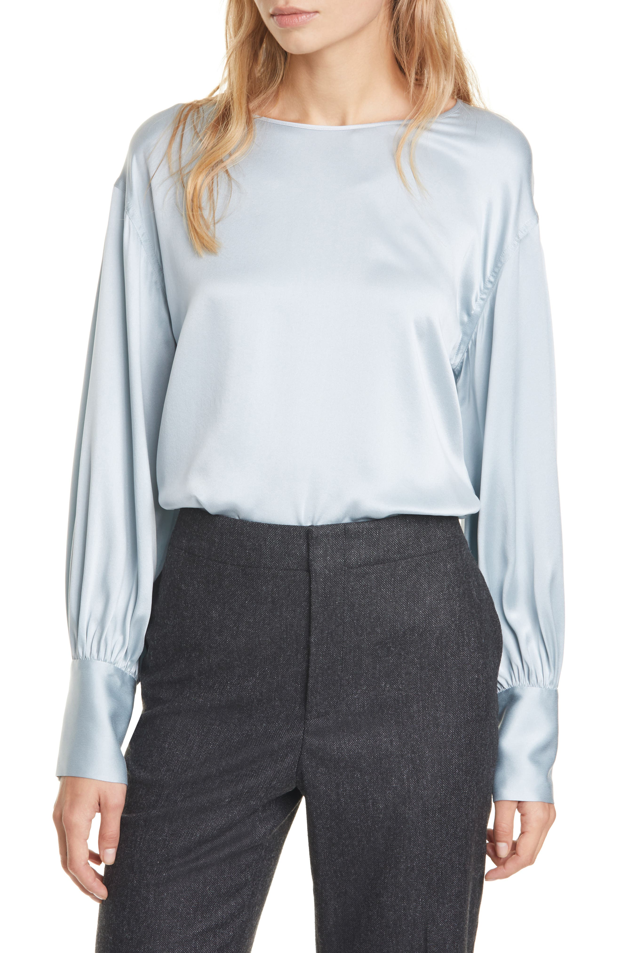 Image of CLUB MONACO Long Blouson Sleeve Silk Top