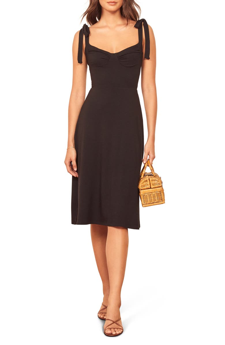REFORMATION Wells Tie Shoulder Stretch Tencel<sup>®</sup> Lyocell Dress, Main, color, BLACK