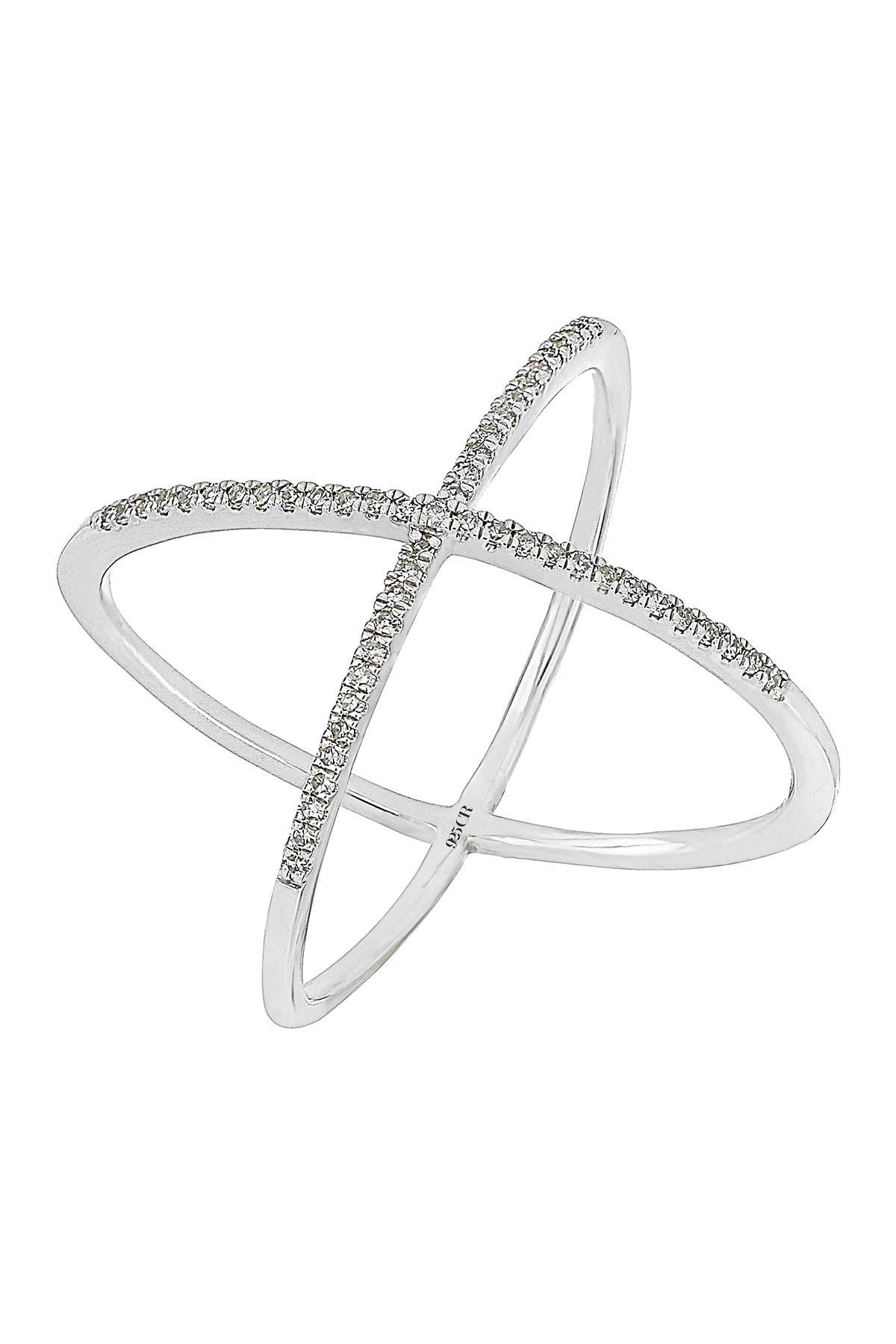 Image of Carriere Sterling Silver Diamond Crisscross Ring - 0.16 ctw