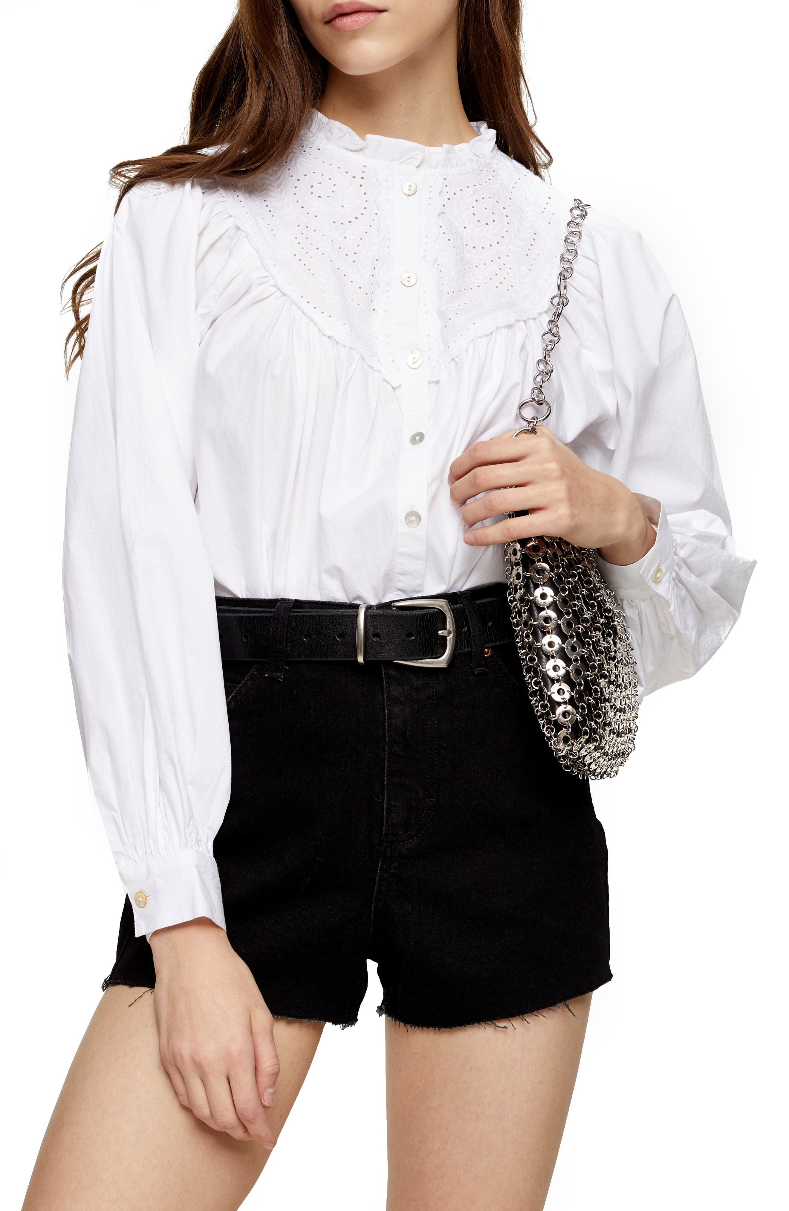 Edwardian Blouses | White & Black Lace Blouses & Sweaters Womens Topshop Broderie Anglaise Poet Shirt Size 2 US - White $68.00 AT vintagedancer.com