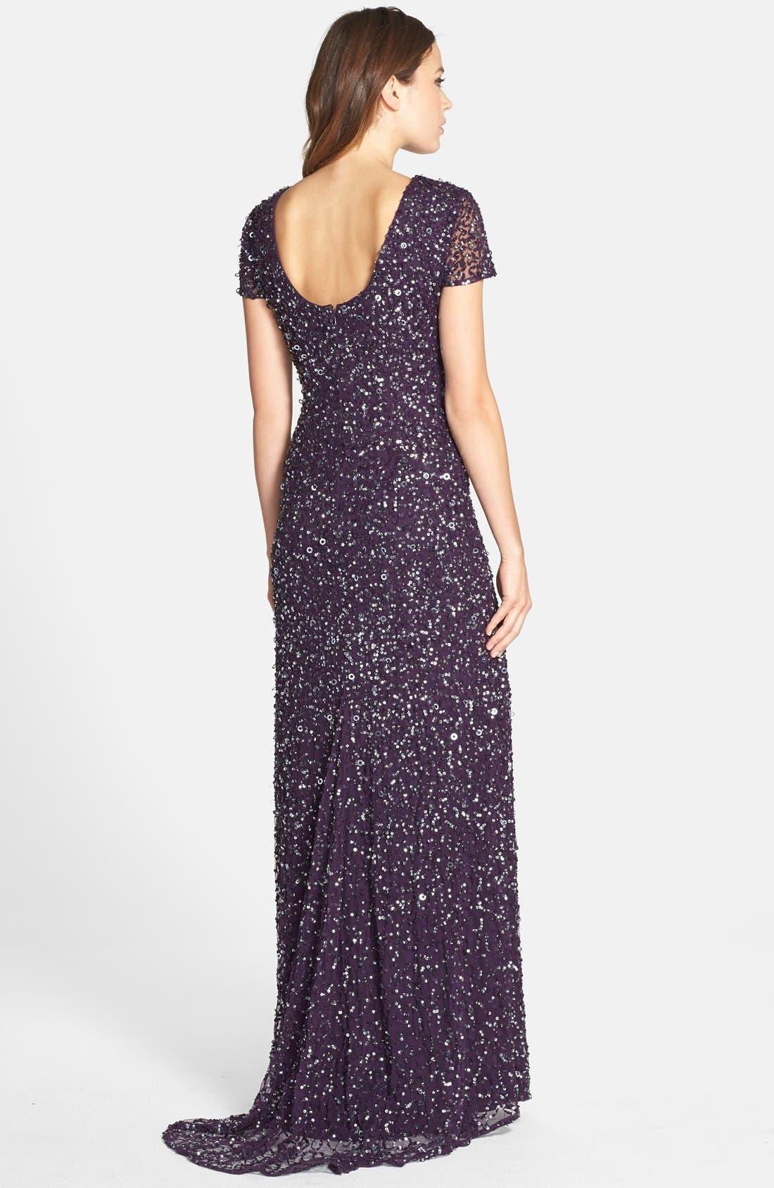 ,                             Short Sleeve Sequin Mesh Gown,                             Alternate thumbnail 55, color,                             589