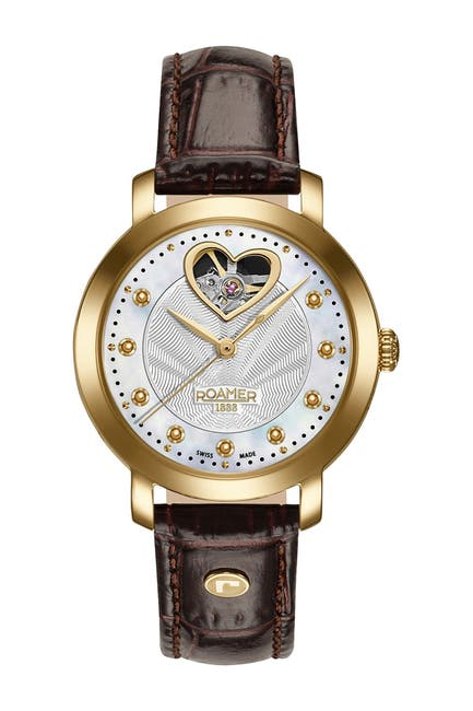 Image of Roamer Women's Sweetheart Automatic Leather Strap Watch, 34mm